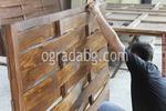 изработка на дървена ограда с пана от чам 200x90см